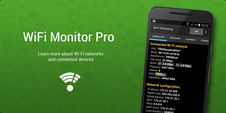 Download Wi‑Fi Monitor Pro and learn everything about WiFi networks!