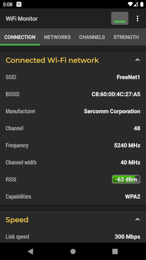 Wi-Fi Monitoring. Connection tab.